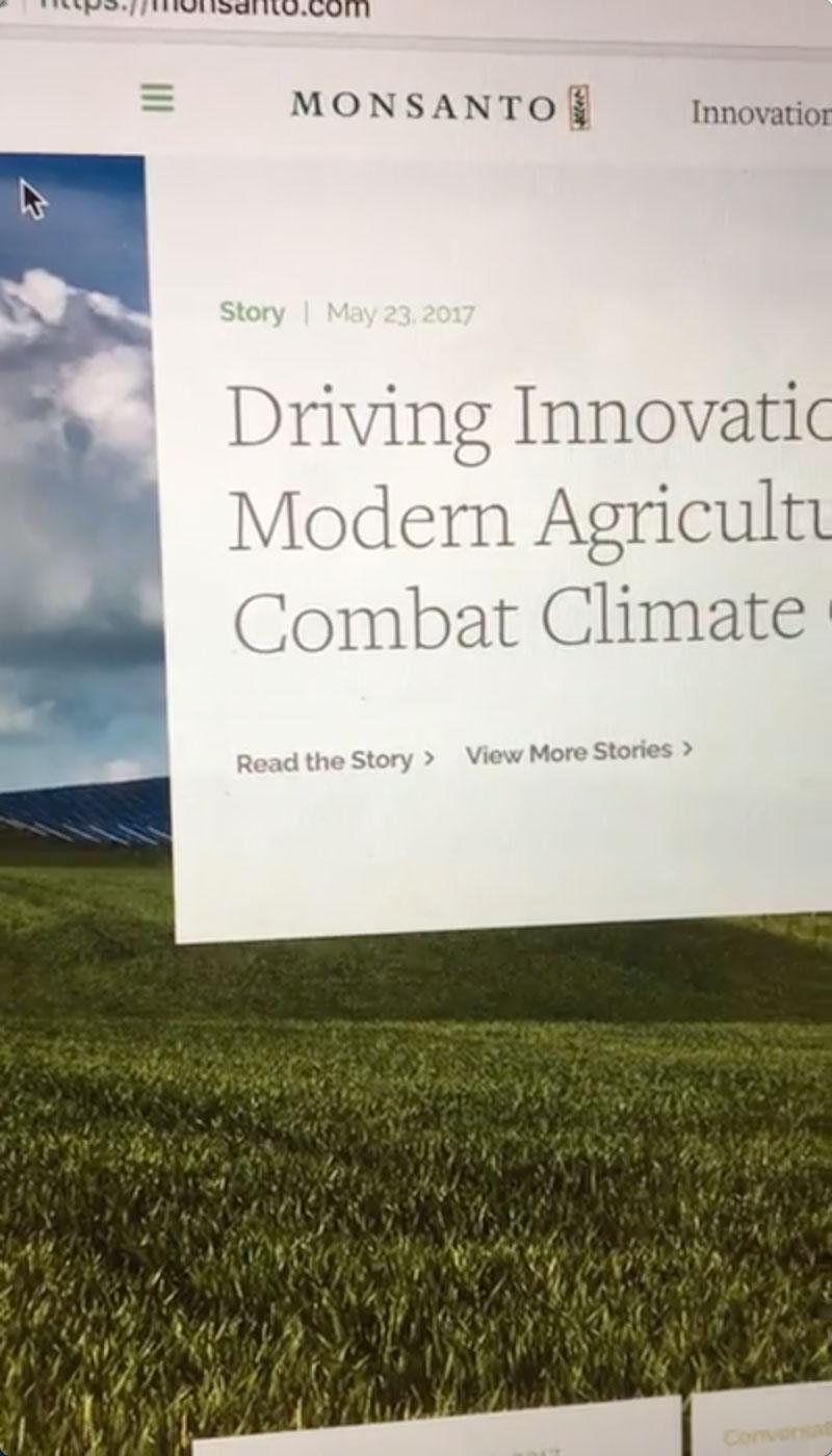Monsanto website screenshot